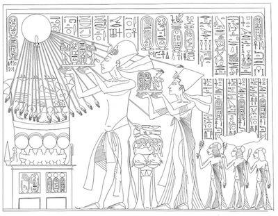 Pharaoh Akhenaten and his family, worshipping the Aten (sun)