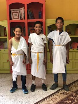 Learning about ancient Amarna: dressing up as pharaoh, Egypt