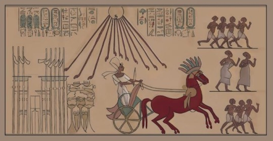 Pharao Ahkenaten in his chariot, illustration from Life Under the Sun