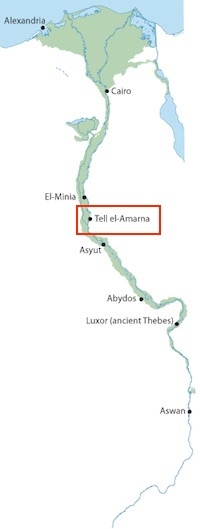 Location of the archaeological site of Amarna in Egypt